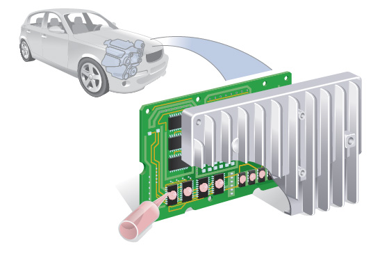 Dispensed thermal materials in Automotive Electronic Control Unit
